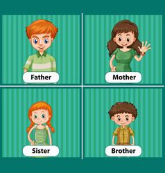 Educational english word card family members vector