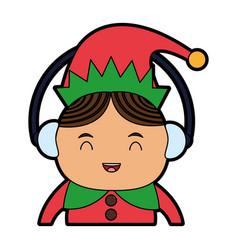 Elf or santas helper wearing ear muffs christmas vector