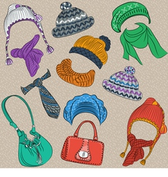 et hipster winter warm knitted hats and scarves vector image