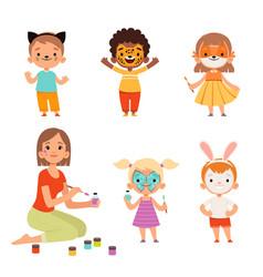 Face painting kids makeup funny animals cartoon vector