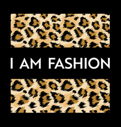 Fashion design print with leopard pattern african vector