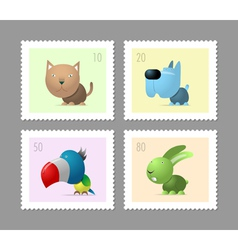 Four postage stamps with pets vector image