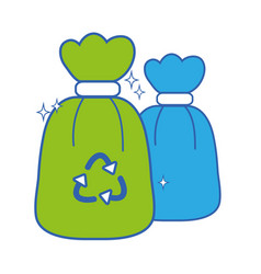 garbage trash bags with recycle symbol vector image