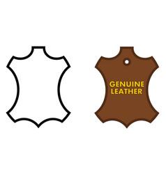 genuine leather sign animal skin outline black vector image
