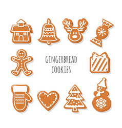 Gingerbread cookies set christmas decorative vector