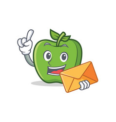 green apple character cartoon with envelope vector image