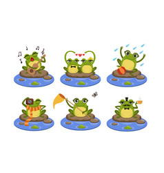 green funny frog characters set cute humanized vector image