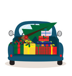 greeting christmas card with retro car with gift vector image