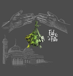 Hand forgive mosque and indonesia traditional vector