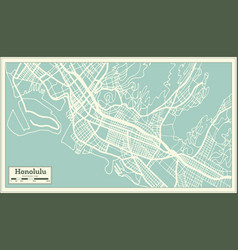 honolulu usa city map in retro style outline map vector image