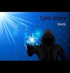 Hooded man hacker and open padlock vector