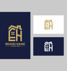 initial letter e and h with roreal estate vector image