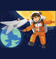 Kid imagining as an astronaut vector
