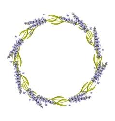 Lavender round frame wreath vector