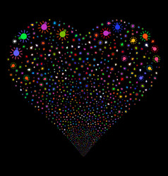 Light bulb fireworks heart vector