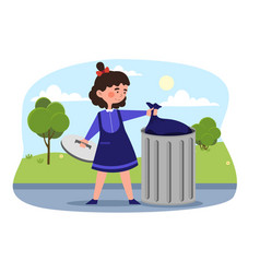 Little smiling girl is taking out trash vector