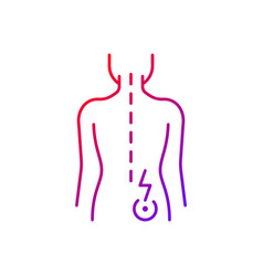 Lower right back pain gradient linear icon vector