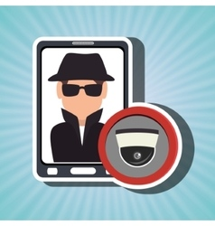 man smartphone detective secure vector image