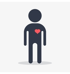 man with heart in love vector image