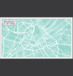Manchester great britain city map in retro style vector