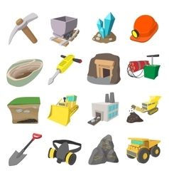 Mining icons cartoon set vector image