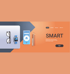 mobile app digital technology smart concept top vector image