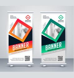 Modern standee rollup presentation banner vector