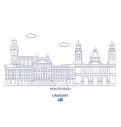Montevideo city skyline uruguay vector