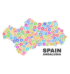 Mosaic andalusia province map of gear items vector
