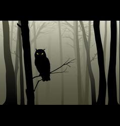 Owl in misty woods vector