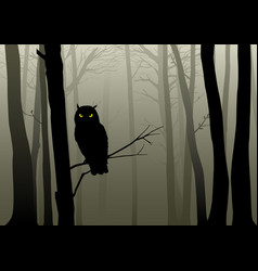 Owl in the misty woods vector