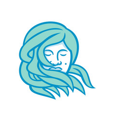 Polynesian woman flowing hair mascot vector