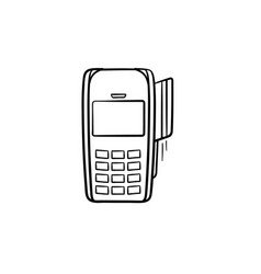 Pos terminal hand drawn outline doodle icon vector