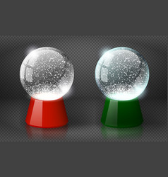 red and green snow globe empty template vector image