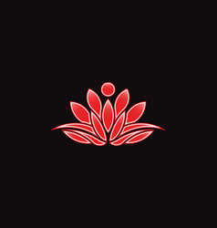 red lotus flower logo icon vector image