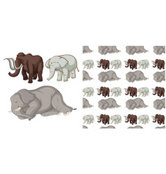 seamless background design with wild elephants vector image