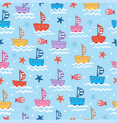 seamless with cute childrens boats on vector image