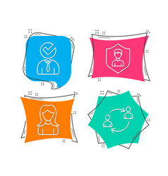 Security agency woman and vacancy icons user vector