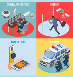 security systems isometric concept vector image