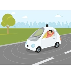Self-driving car flat modern vector