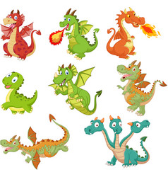 set dragons cartoon on white background vector image