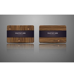 Set natural gift cards Wooden credit cards vector