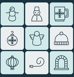 Set of 9 holiday icons includes knitted cap vector