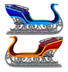 set of iron sleigh of santa claus blue and red vector image
