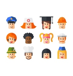 Set of isolated flat design people icon avatars vector image