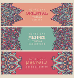 Set of three horizontal cards or flyers with vector