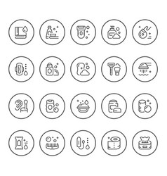 Set round line icons hygiene vector