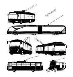 Set trolley bus silhouettes vector image
