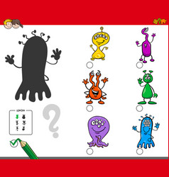 Shadows game with cartoon alien characters vector