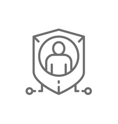 shield with person personal protection privacy vector image